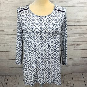 Papermoon Stitch Fix Blue & White Floral Shirt